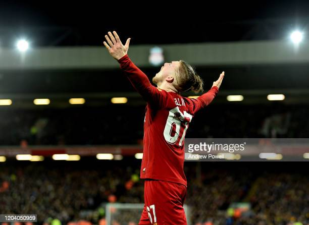 Harvey Elliott of Liverpool of Liverpool celebrating the opening goal during the FA Cup Fourth Round Replay match between Liverpool FC and Shrewsbury...