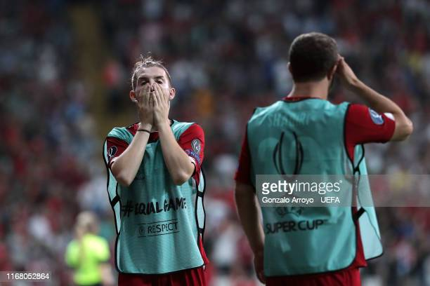 Harvey Elliott of Liverpool reacts during the UEFA Super Cup match between Liverpool and Chelsea at Vodafone Park on August 14 2019 in Istanbul Turkey