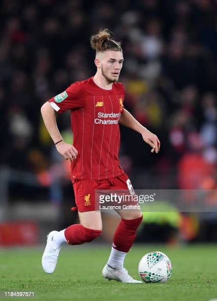 Harvey Elliott of Liverpool runs with the ball during the Carabao Cup Round of 16 match between Liverpool and Arsenal at Anfield on October 30 2019...