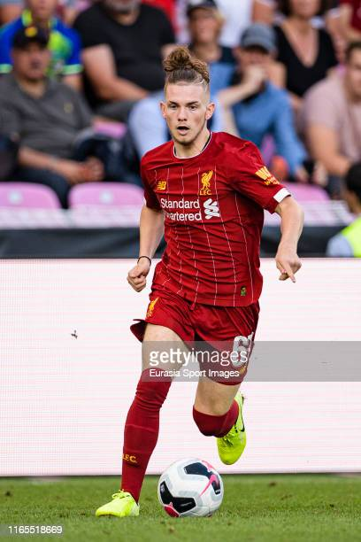 Harvey Elliott of Liverpool runs with the ball during the PreSeason Friendly match between Liverpool FC and Olympique Lyonnais at Stade de Geneve on...