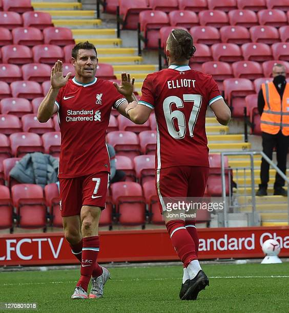 Harvey Elliott of Liverpool scores the fourth goal making the score 42 and celebrates at Anfield on September 05 2020 in Liverpool England