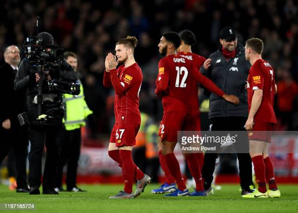 Harvey Elliott of Liverpool showing his appreciation to the fans at the end of the Premier League match between Liverpool FC and Sheffield United at...