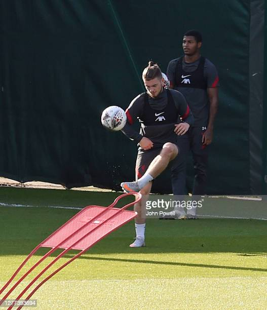 Harvey Elliott of Liverpool with Rhian Brewster of Liverpool during a training session at Melwood Training Ground on September 29 2020 in Liverpool...