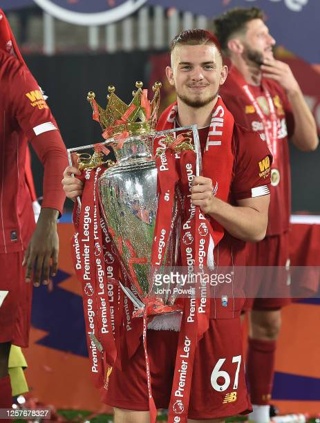Harvey Elliott of Liverpool with the Premier League Trophy match between Liverpool FC and Chelsea FC at Anfield on July 22, 2020 in Liverpool,...