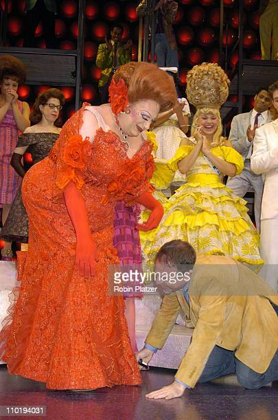 """Harvey Fierstein and composer Marc Shaiman during Final Broadway Performance of Harvey Fierstein and Kathy Brier in """"Hairspray"""" at The Neil Simon..."""