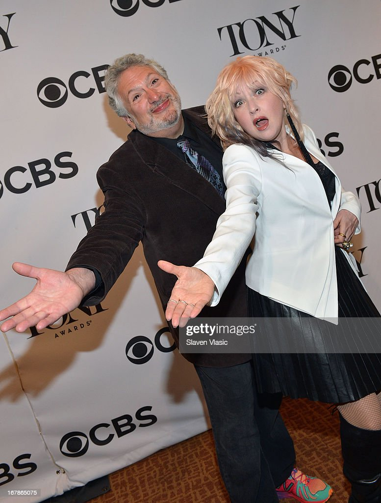 Harvey Fierstein and Cyndi Lauper attend 2013 Tony Awards: The Meet The Nominees Press Junket at the Millenium Hilton on May 1, 2013 in New York City.
