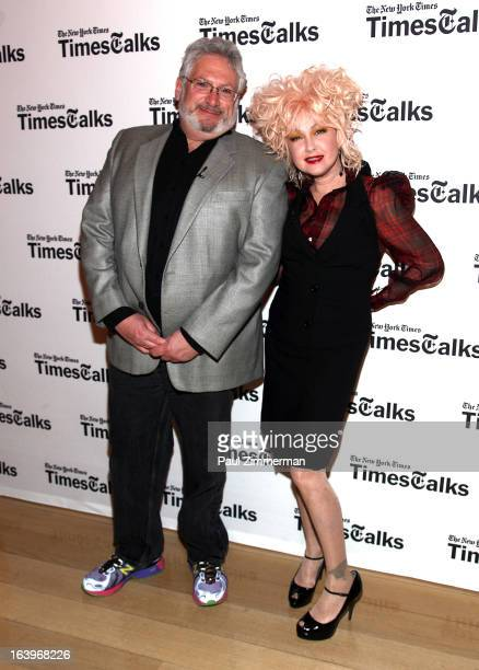 Harvey Fierstein and Cyndi Lauper attends TimesTalks presents Kinky Boots at TheTimesCenter on March 18 2013 in New York City