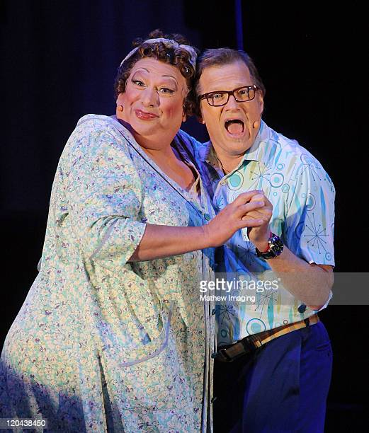 Harvey Fierstein and Drew Carey perform Hairspray onstage at the Hollywood Bowl on August 5 2011 in Hollywood California