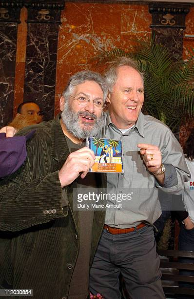 Harvey Fierstein and John Lithgow during The Great Dirty Rotten Scoundrels Record Giveaway at Imperial Theatre in New York City New York United States