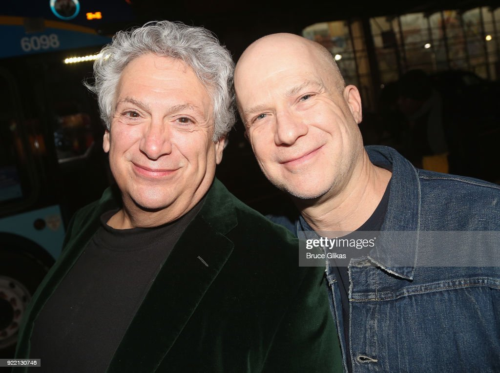 Harvey Fierstein and Producer Richie Jackson pose as Playwright Harvey Fierstein carries 'the torch' from the Second Stage Tony Kiser Theater to the Helen Hayes Theater where it debuted 36 years ago as Harvey Fierstein's iconic play 'Torch Song' announces its broadway transfer on February 20, 2018 in New York City.