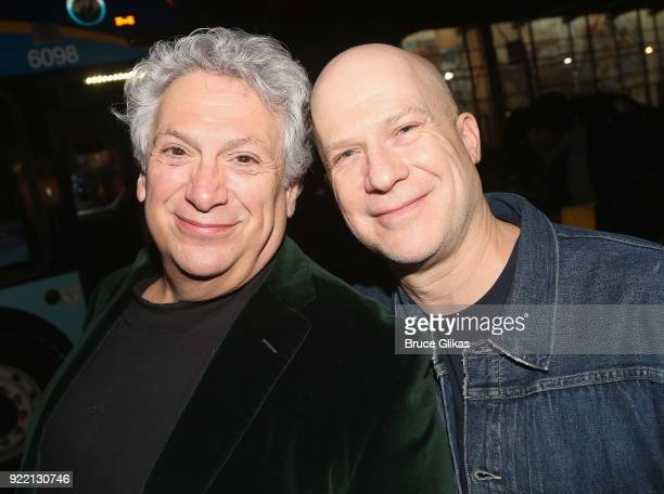 Harvey Fierstein and Producer Richie Jackson pose as Playwright Harvey Fierstein carries 'the torch' from the Second Stage Tony Kiser Theater to the...