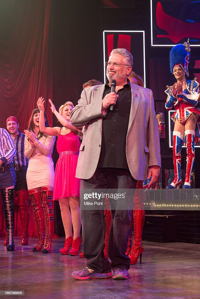 Harvey Fierstein and the cast of Kinky Boots announce The Harvey Fierstein 15-Bite Brooklyn Diner 'All Beef' Hot Dog Unveiling at Brooklyn Diner on May 22, 2013 in New York City.