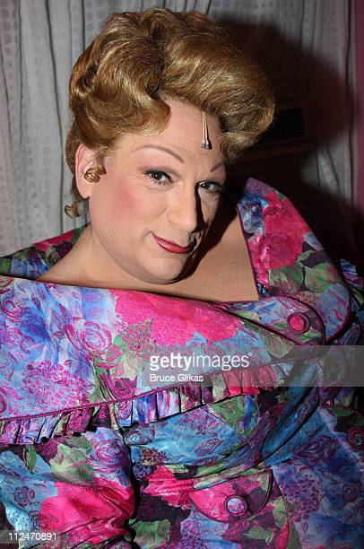 Harvey Fierstein as Edna Turnblad poses backstage at The Hairspray Closing Night on Broadway at The Neil Simon Theater on January 4 2009 in New York...