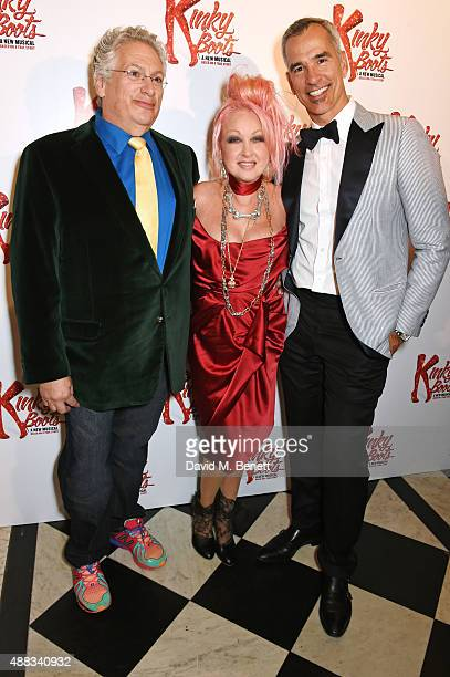 Harvey Fierstein Cyndi Lauper and Jerry Mitchell attend the Kinky Boots after party on opening night at The Grand Connaught Rooms on September 15...