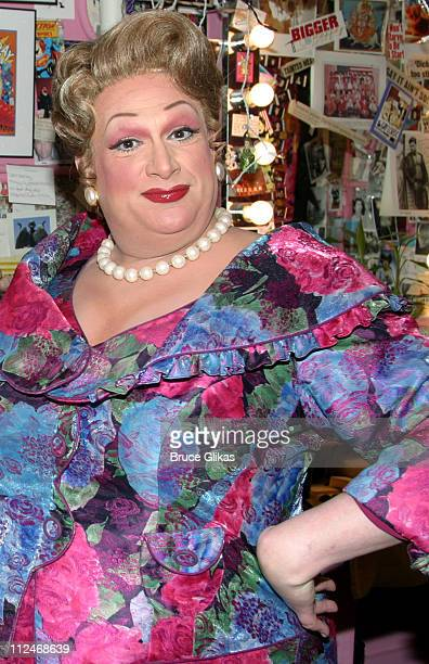 Harvey Fierstein during Ericka Dunlap Miss America 2004 Visits the Cast of Hairspray Backstage September 24 2003 at The Neil Simon Theatre in New...