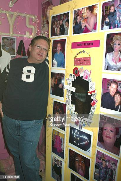 Harvey Fierstein poses by his dressing room door during Celebrities visit backstage after seeing the Broadway Hit Musical Hairspray at Neil Simon...