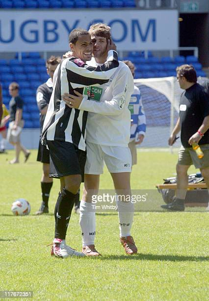 Harvey from So Solid and Bryan McFadden during The Music Industry Soccer Six 23rd May 2004 at Madejski Stadium in Reading Great Britain