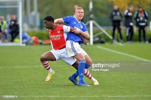Harvey Godsmark-Ford of Leicester City U18s during the Leicester City v Arsenal: U18 Premier League match at Seagrave on October 23, 2021 in...