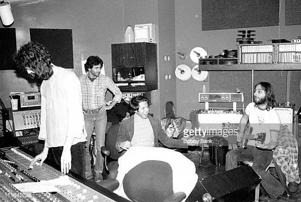 Harvey Goldberg Ron Dante and Elliott Randall during Pat Benatar Recording Session at Mediasound Studios December 12 1978 at Mediasound Studios in...