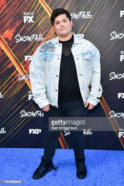 Harvey Guillen attends the premiere of FX's Snowfall season 3 at Bovard Auditorium At USC on July 08 2019 in Los Angeles California