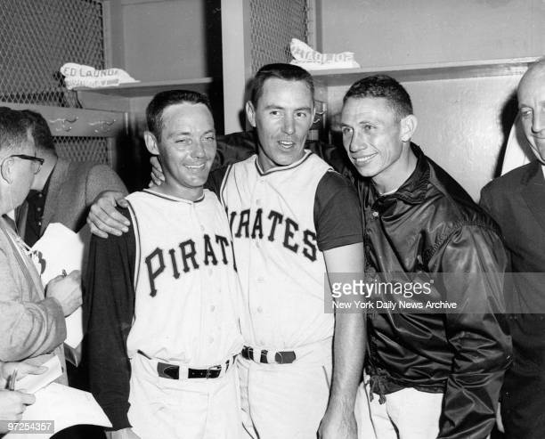 Harvey Haddix Pirates starter with El Roy Face and Bill Mazeroski are all smiles as Pittsburgh goes up one game in World Series against the New York...