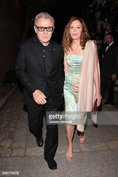 Harvey Keitel and Daphna Kastner attend 62 Taormina Film Fest Day 4 on June 14 2016 in Taormina Italy