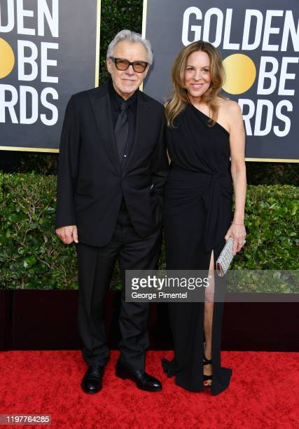 Harvey Keitel and Daphna Kastner attend the 77th Annual Golden Globe Awards at The Beverly Hilton Hotel on January 05, 2020 in Beverly Hills,...