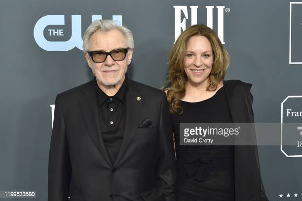 Harvey Keitel and Daphna Kastner during the arrivals for the 25th Annual Critics' Choice Awards at Barker Hangar on January 12, 2020 in Santa Monica,...