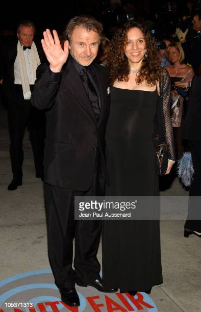 Harvey Keitel and guest during 2004 Vanity Fair Oscar Party Arrivals at Mortons in Beverly Hills California United States
