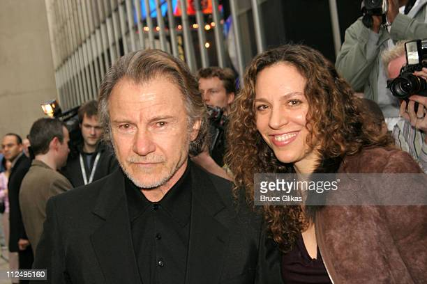 Harvey Keitel and wife Daphna during Opening Night of Martin McDonagh's The Pillowman on Broadway Arrivals at The Booth Theater in New York City NY...