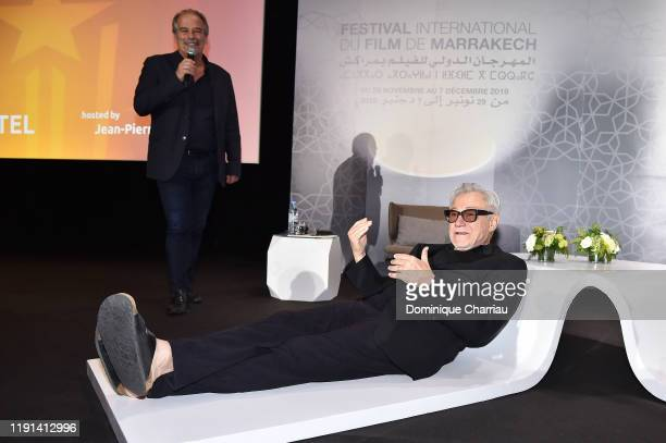 "Harvey Keitel attendsthe ""conversation with"" during the 18th Marrakech International Film Festival -Day Four- on December 02, 2019 in Marrakech,..."