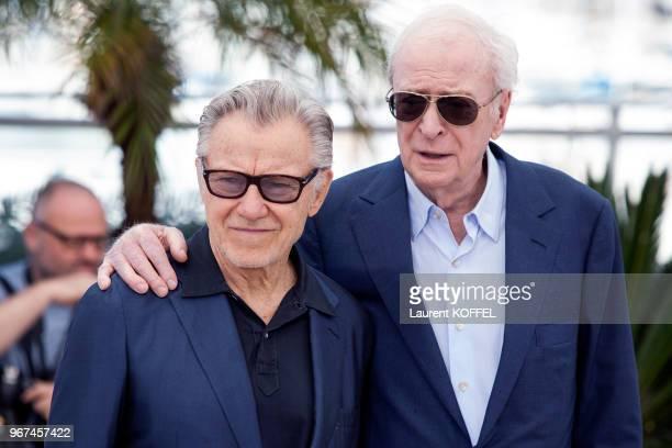 Harvey Keitel et Michael Caine lors du photocall du film Youth' pendant le 68eme Festival du Film Annuel au Palais des Festivals le 20 mai 2015...