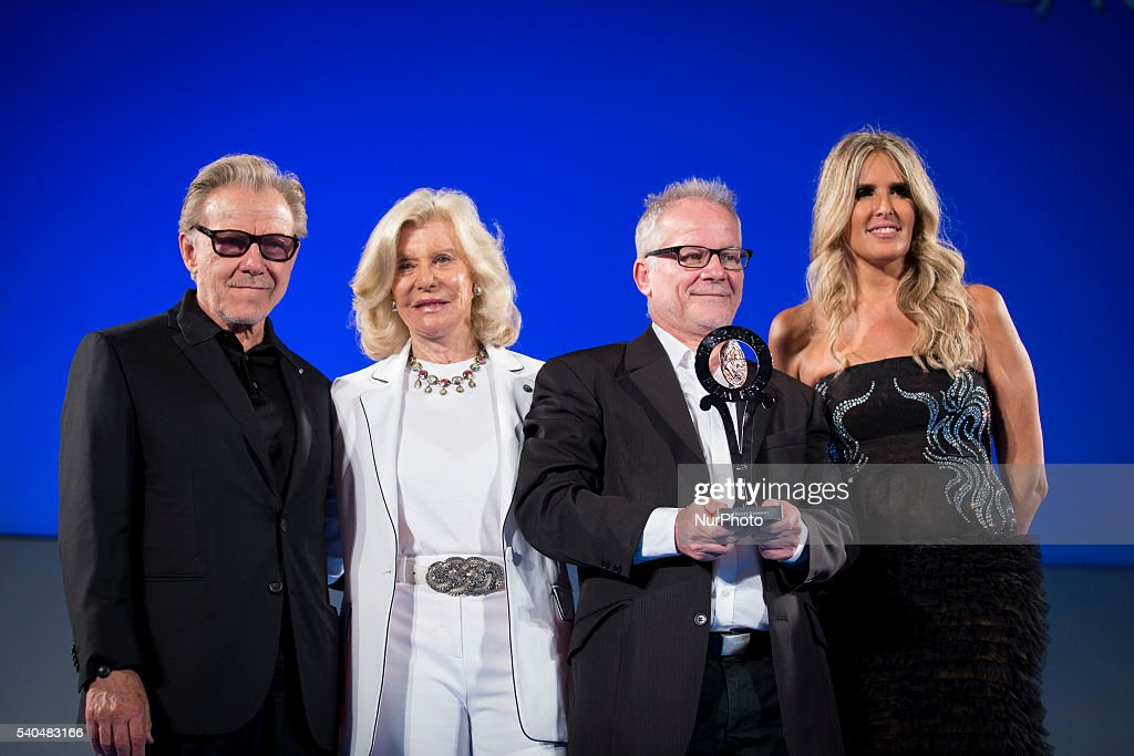 Harvey Keitel, Marina Cicogna, Thierry Fremaux and Tiziana Rocca attend 62 Taormina Film Fest - Day 5 on June 15, 2016 in Taormina, Italy.