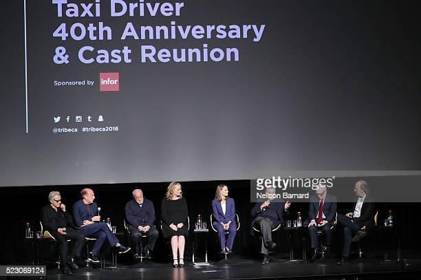 Harvey Keitel Michael Phillips Paul Schrader Cybill Shepherd Jodie Foster Robert De Niro and Martin Scorsese attend the Taxi Driver 40th anniversary...