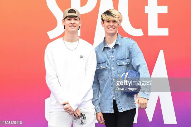 """Harvey Kitt Mills and Max Luca Mills of Max & Harvey attend a special screening of """"SPACE JAM: A NEW LEGACY"""" in cinemas 16th July at Cineworld..."""
