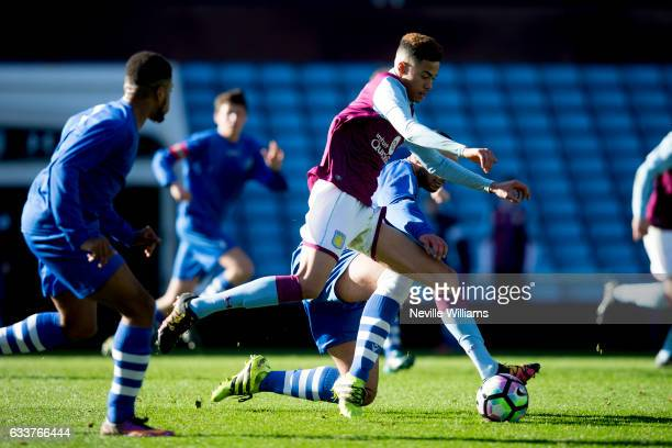 Harvey Knibbs of Aston Villa scores for Aston Villa during the FA Youth Cup fifth round match between Aston Villa and Broxbourne Borough at Villa...