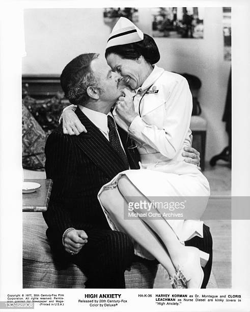Harvey Korman as Dr Montague And Cloris Leachman as Nurse Diesel are kinky lovers in a scene from the film 'High Anxiety' 1977