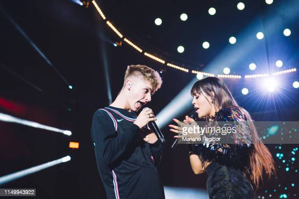 Harvey Leigh aka HRVY and Danna Paola perform on stage during LOS40 Primavera Pop festival at Madrid WiZink Center on May 17 2019 in Madrid Spain