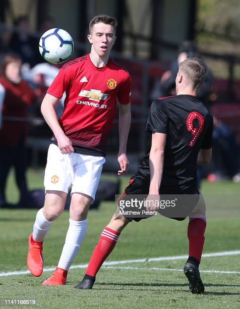 Harvey Neville of Manchester United U18s in action during the U18 Premier League match between Manchester United U18s and Sunderland U18s at Aon...