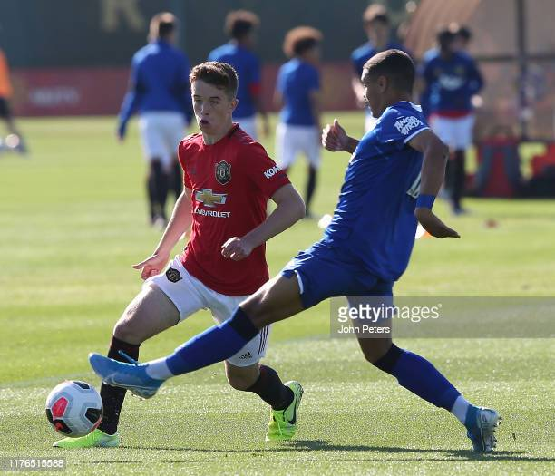 Harvey Neville of Manchester United U18s in action during the U18 Premier League match between Manchester United U18s and Everton U18s at Aon...