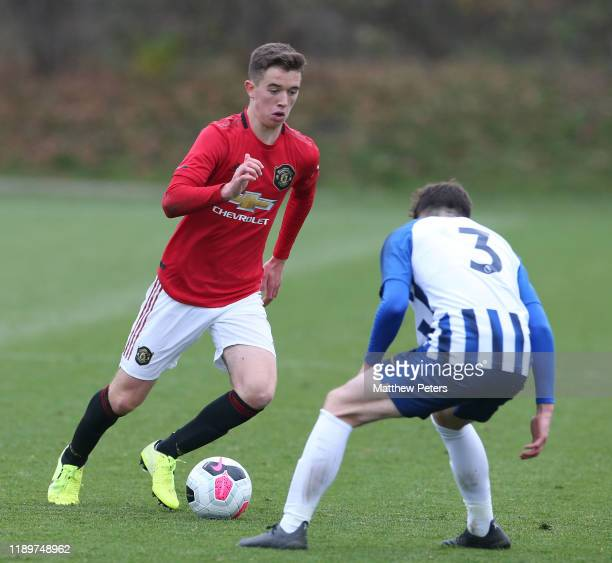 Harvey Neville of Manchester United U18s in action during the U18 Premier League match between Manchester United U18s and Brighton and Hove Albion...