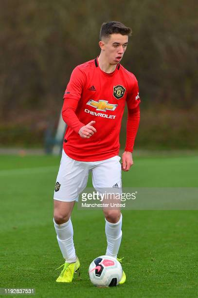 Harvey Neville of Manchester United U18s in action during the U18 Premier League match between Manchester United U18s and Stoke City U18s at Aon...