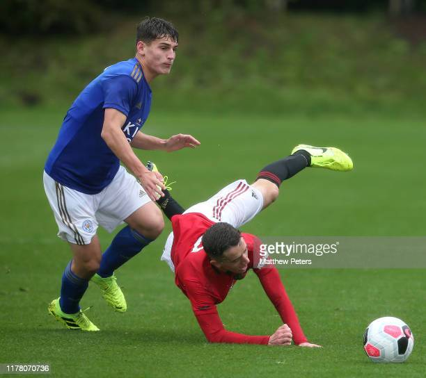 Harvey Neville of Manchester United U18s in action during the U18s Premier League match between Manchester United U18s and Leicester City U18s at Aon...