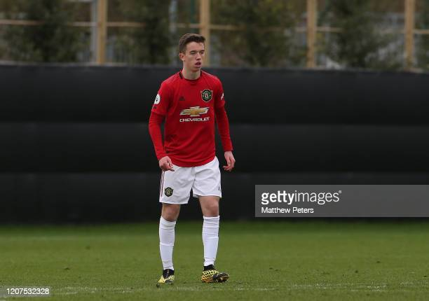 Harvey Neville of Manchester United U23s in action during a friendly match between Club Brugge Youth Team and Manchester United U23s at Club Brugge...