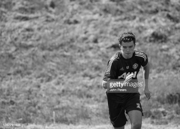 Harvey Neville of Manchester United U23s in action during a training session at Aon Training Complex on July 22 2020 in Manchester England