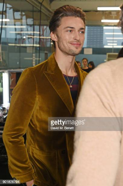 Harvey Newton Haydon attends the Oliver Spencer LFWM AW18 Catwalk Show at the BFC Show Space on January 6 2018 in London England