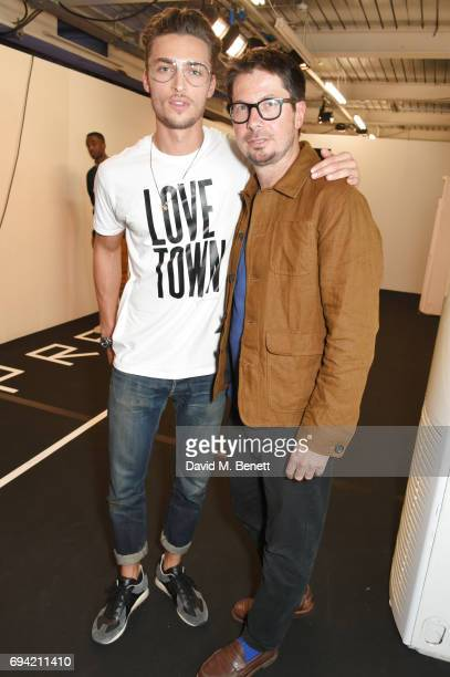 Harvey NewtonHaydon poses backstage with Oliver Spencer at the Oliver Spencer SS18 Catwalk Show during London Fashion Week Men's June 2017 on June 9...