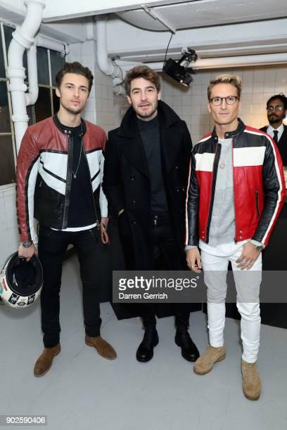 Harvey NewtonHaydon Robert Konjic and Oliver Proudlock attend the Belstaff AW18 Mens Womens Presentation during London Fashion Week Men's January...