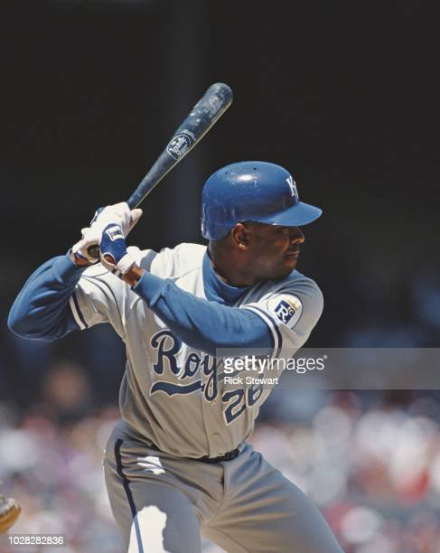 Harvey Pulliam Outfielder and Pinch Hitter for the Kansas City Royals at bat during the Major League Baseball American League West game against the...