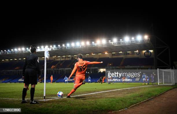 Harvey Rew of Portsmouth takes a corner kick during the Papa John's Trophy match between Peterborough United and Portsmouth on January 12, 2021 in...